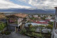 Vue de la vallée d'Alazani du centre de la ville de Telavi, la Géorgie Image libre de droits