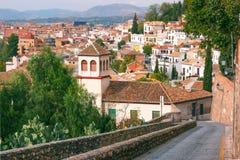 Vue de la vieille ville, Grenade, Andalousie, Espagne Photo libre de droits
