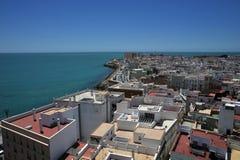 Vue de la ville antique de mer de Cadix de la cathédrale de la croix sainte Photo stock