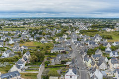 Vue de la ville de Penmarch d'une taille (la Bretagne, Frances) Photo stock