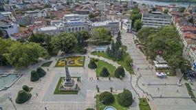 Vue de la ville de Ruse du centre d'en haut Image libre de droits