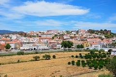Vue de la ville et du château, Silves, Portugal Images libres de droits