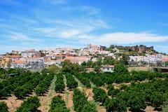 Vue de la ville et du château, Silves, Portugal Images stock
