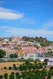 Vue de la ville et du château, Silves, Portugal Photo stock