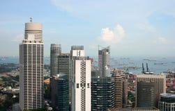 Vue de la ville et du port de Singapour Photo stock