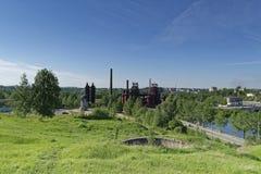 Vue de la ville de Nizhny Tagil du haut de la montagne Image stock
