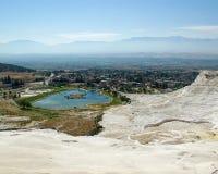 Vue de lac dans Pamukkale Photos libres de droits