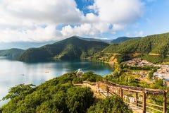 Vue de lac Lugu Image libre de droits