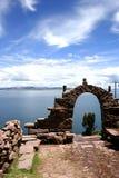 Vue de lac Titicaca d'isla del sol Image stock