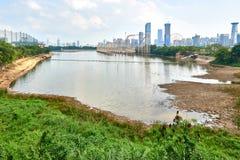 Vue de lac xiang Mi Hu de Shen Zhen City photographie stock