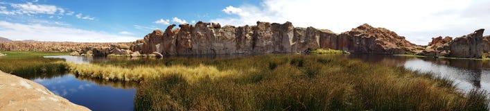 Vue de Laguna Negra et le paysage rocheux du plateau bolivien photos stock