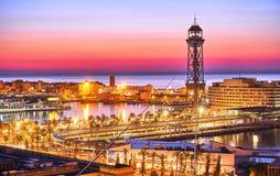 Vue de lever de soleil de Barcelone de colline de Monjuic Images stock