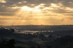 Vue de lever de soleil de forêt tropicale d'Amazone Images libres de droits