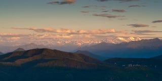 Vue de lever de soleil de monte san Giorgio Images libres de droits