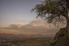 Vue de lever de soleil de temple de Savitri Photographie stock
