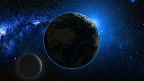 Vue de lever de soleil de l'espace sur terre et la lune de planète Photographie stock libre de droits
