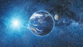 Vue de lever de soleil de l'espace sur terre et la lune de planète Photo stock