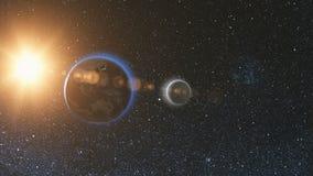 Vue de lever de soleil de l'espace sur terre et la lune de planète Photographie stock