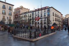 Vue de lever de soleil de Plaza de Isabel II dans la ville de Madrid, Espagne Photos libres de droits