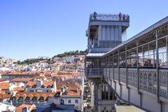 Vue de Lisbonne du haut du looko de Santa Justa d'elevador photo stock