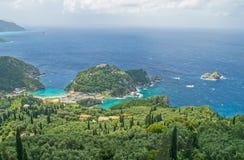Vue de littoral de Lakones, Corfou Photographie stock libre de droits