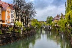 Vue de Ljubljana un jour pluvieux Photos stock