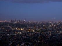 Vue de Los Angeles sur le coucher du soleil, la Californie, Etats-Unis Image libre de droits