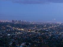 Vue de Los Angeles sur le coucher du soleil, la Californie, Etats-Unis Photo libre de droits