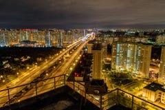Vue de Lyubertsy la nuit Moscou Oblast, Russie Image libre de droits
