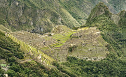 Vue de Machu Picchu de Puerta del Sol Image libre de droits