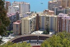 Vue de Malaga avec la plaza de Toros (arène) de la vue aérienne, Espagne Images stock