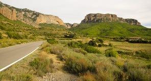 Vue de Mallos de Riglos, à Huesca, l'Espagne photographie stock