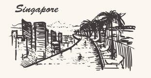 Vue de Marina Bay Sands Hotel Horizon de Singapour, tiré par la main illustration stock