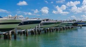 Vue de marina de Miami Beach dans un jour ensoleillé Image stock