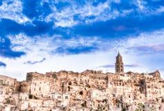 Vue de Matera, Italie, l'UNESCO Photographie stock libre de droits