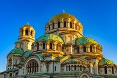 Vue de matin d'Alexander Nevsky Cathedral ensoleillé, Sofia, Bulgarie Images libres de droits
