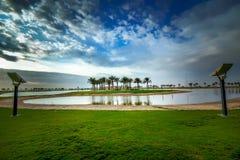 Vue de matin de Dammam Arabie Saoudite de lac Modon photos libres de droits