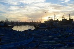 Vue de matin de port d'Essouaira, Maroc Image stock