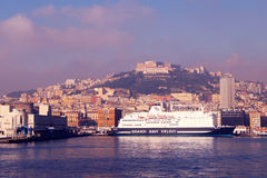 Vue de matin de port de Naples Photos stock