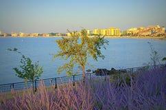 Vue de matin de station de vacances de Sunny Beach Photos stock
