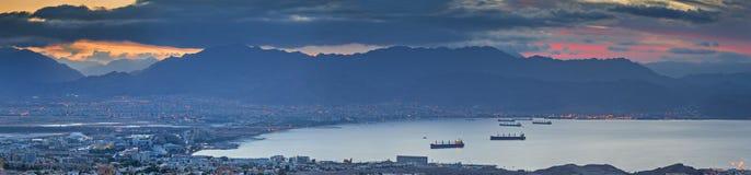 Vue de matin sur le golfe d'Aqaba de la Mer Rouge, Eilat, Israël Photo libre de droits