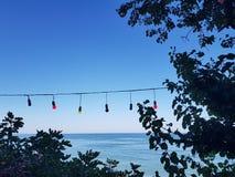 Vue de mer avec les lumières colorées entre les arbres photo libre de droits