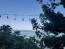 Vue de mer avec les lumières colorées entre les arbres photo stock