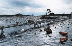 Vue de mer d'apocalypse Passerelle détruite Concept d'Armageddon rendu 3d illustration de vecteur