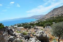Vue de mer d'une des montagnes sur Rhodes Images libres de droits