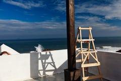 Vue de mer de balcon de pièce Photos stock