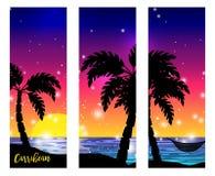 Vue de mer des Caraïbes avec des silhouettes de paume Images stock