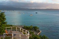 Vue de mer du balcon de l'hôtel, Boracay, Philippines Images libres de droits