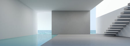 Vue de mer vivant dans l'intérieur moderne de maison sur la plage avec la piscine photo stock