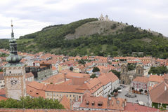 Vue de Mikulov (Nikolsburg) de colline Image libre de droits